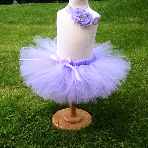 Cute Baby Purple Tutu Skirts Girls Fluffy Ballet Tulle Pettiskirts with Ribbon Bow and Lace Flower Headband Kids Party Tutus