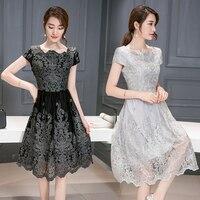 2017 Summer Women Sexy Plus Size Clothing Lace Embroidery Medium Long Basic Short Sleeve Luxury Slim