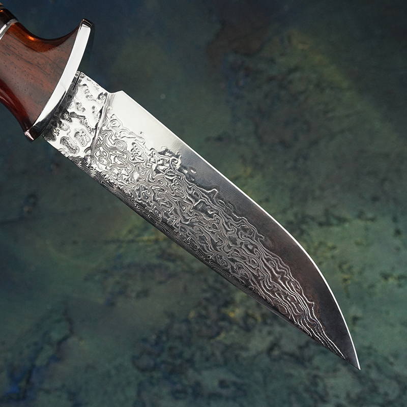 Hand forged Damascus steel straight blade VG10 steel pattern steel fixed blade outdoor camping tool knife dalbeja handle hunting-in Knives from Tools    2