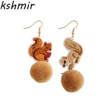 Han edition fashion boutique earrings embroidery earrings animal earrings MAO qiu winter fashion ladies earrings wholesale цена