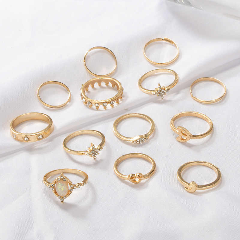 25 estilos bohemio corona de oro Luna estrella serpiente Cruz gotas de agua cristalina anillo conjunto mujer encanto anillo conjunto fiesta boda joyería