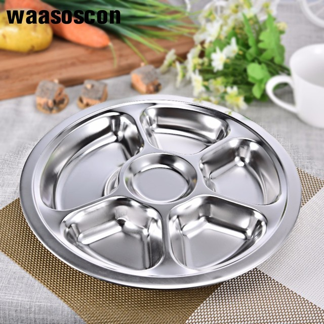 3 4 5 6 Sections Stainless Steel Divided Dinner Plate Dish Round Students Grid Lunch Tray & 3 4 5 6 Sections Stainless Steel Divided Dinner Plate Dish Round ...