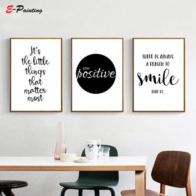 Modern Wall Art Black White Motivational Life Quote Art Posters Canvas Prints Nordic Painting Wall Pictures for Living Room