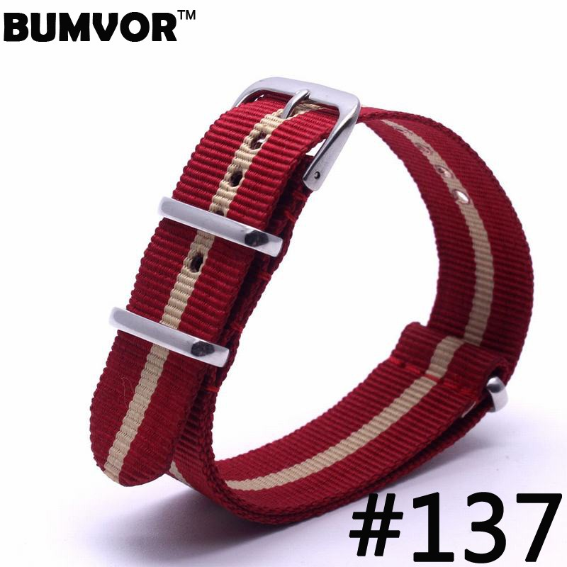 Luxury Causal Watch Band Nylon Fabric straps 20mm watch accessories Colorful Stripe Watchbands For Watch luxury aluminum watch