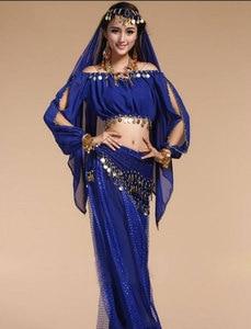 Image 4 - בוליווד הודי ריקוד תלבושות סט לנשים שיפון בוליווד Orientale בטן ריקוד תלבושות סט לאישה