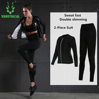 Vansydical 2 Piece Hot Sweat Yoga Sets Stretch Tight Women Gym Sets Fitness Long Sleeve Sportswear High Waist Yoga Pants