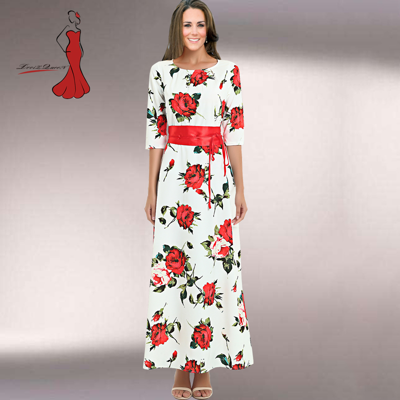 women clothes 2018 elbise printing fashion Rose long white dress casual Russian printing fashion clothes XXL