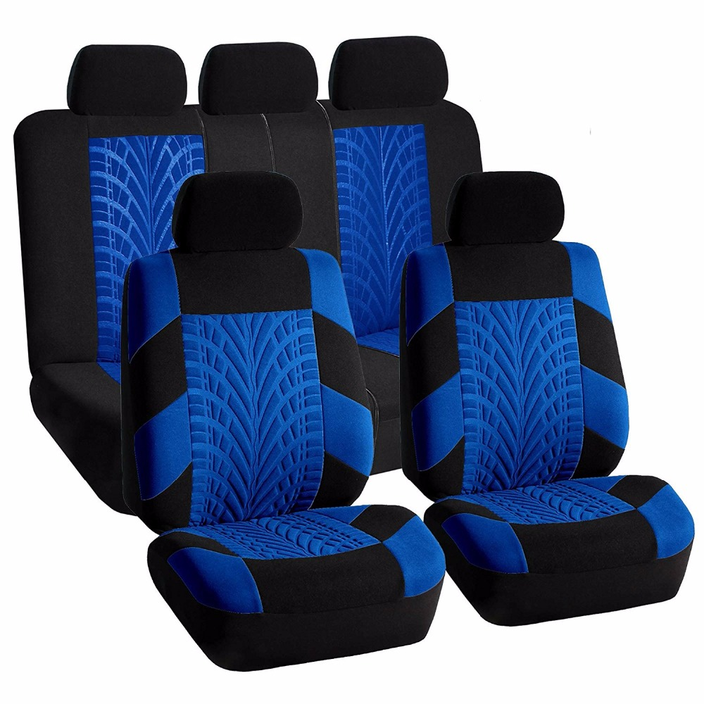 DONYUMMYJO 5 Colors Front+Back Car Seat Covers Universal Auto Interior Accessories Car Seat Protector Tyre Line Seat Covers
