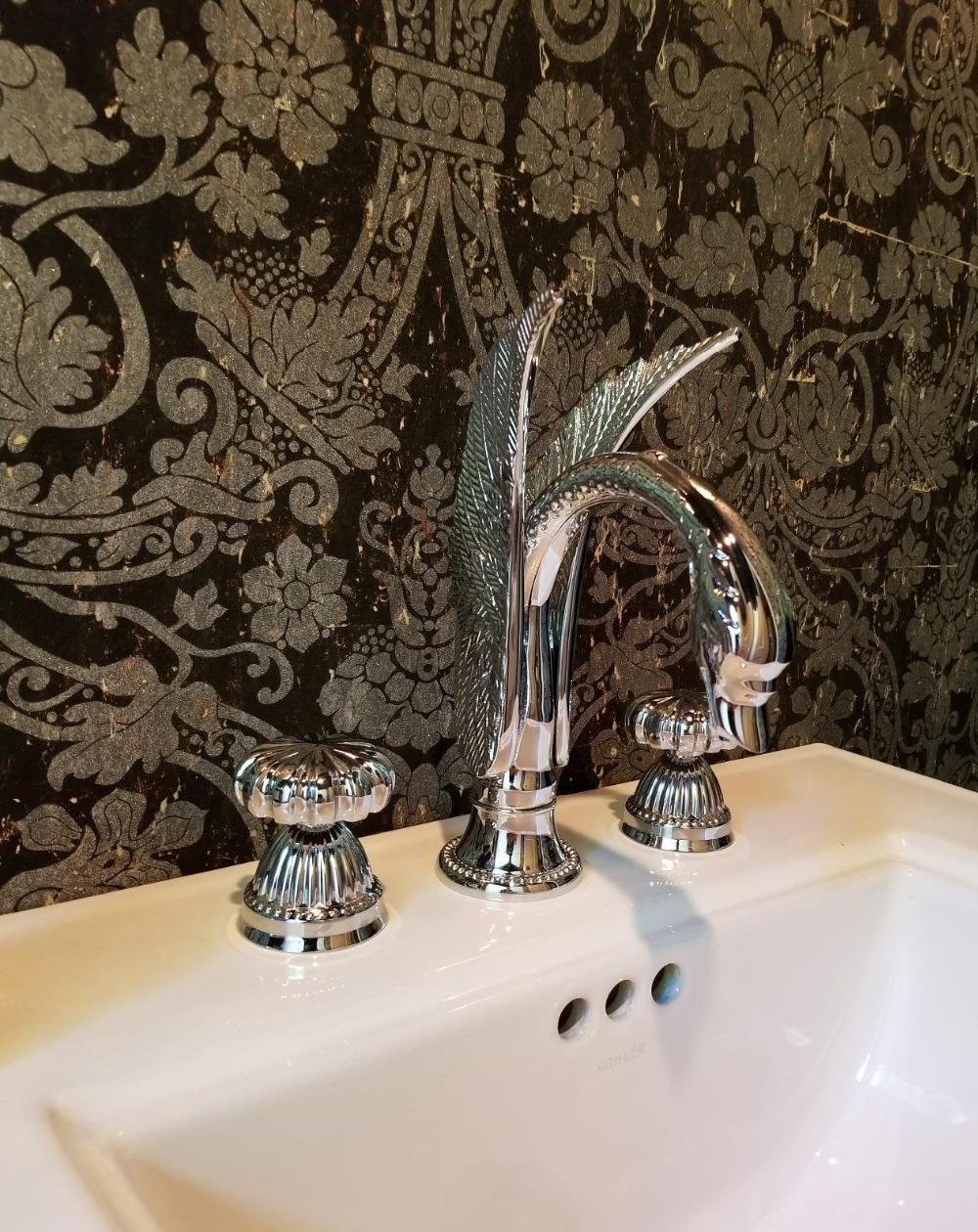 Free Ship Chrome Colour Pieces Bathroom Swan Sink Faucet - 3 piece bathroom sink faucet