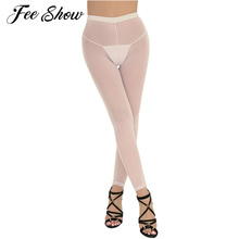 Legging Lingerie Pants Hosiery Sheer Sexy Womens Mesh See-Through Trousers Cut Fitness