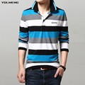 striped polo men contrast color new 2016 cotton turn down collar full length slim fashion badge brand embroidery size S-3xl hot