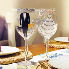 2PCS/ Pair Wedding Decoration Marriage Bride And Groom Wine Cups Champagne Glasses Cup Party New Year Ornaments Gifts