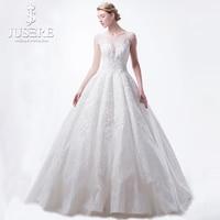 JUSERE Box Pleat Inner Crinoline Luxury Beading Crystal Overlay Illusion Shoulder Princess Church Full Wedding Dress 2018
