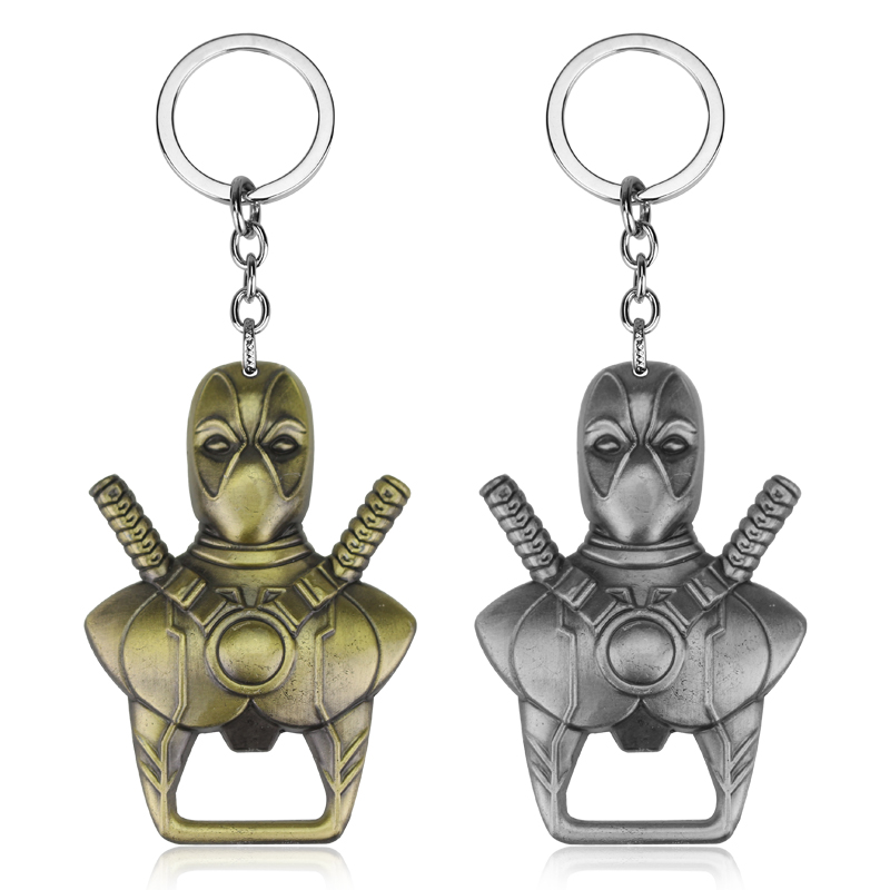 New Deadpool Bottle Opener Keychain Dead Pool Mask Comics Warrior Beer Opener Key Chain Key Holder Movie Jewelry Souvenirs Gift