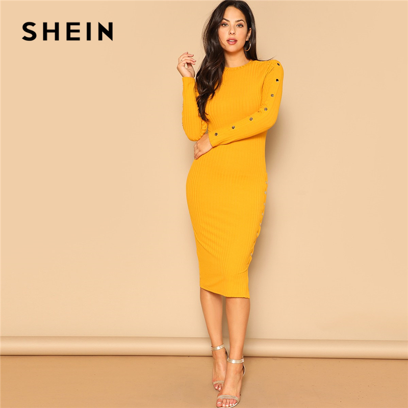 SHEIN Ginger Office Lady Snap Button Side Rib knit Fitted Bodycon Pencil Dress Women Elegant Solid Autumn Long Sleeve Dresses