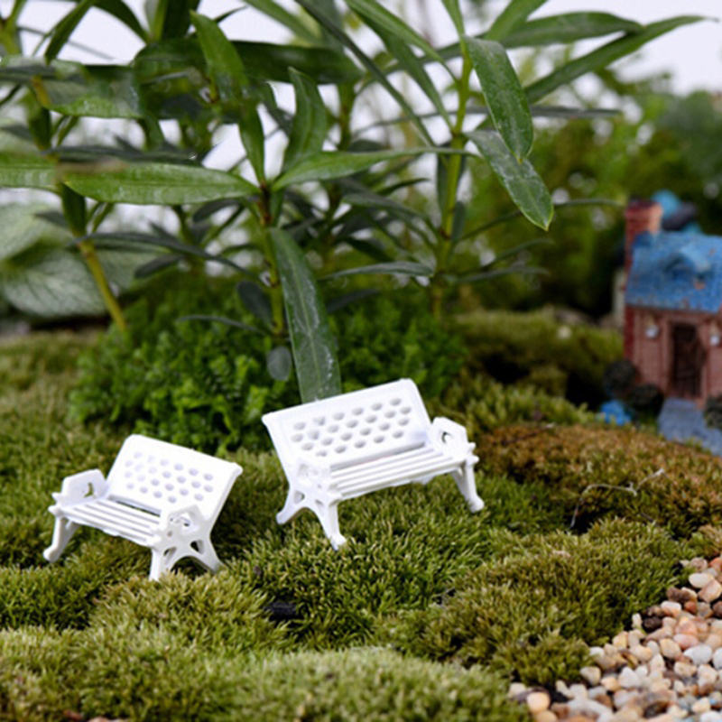 1pcs High Quality Mini White Plastic Park Seat Bench Garden Ornament Fairy Dollhouse Decor Wedding Party Decoration 3 Size