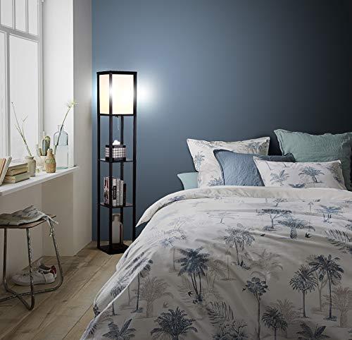 Vermetel Moderne Houten Vloer Lamp Voor Woonkamers & Slaapkamers Studeerkamer Aziatische Frame Met Open Doos Display Planken Staande Licht Armatuur Snelle Kleur