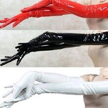 Сексуальные женские длинные перчатки, перчатки из ПВХ с пятью пальцами, перчатки с мокром эффектом, черные/красные/белые, искусственная кожа, латексные фетиш Готические перчатки