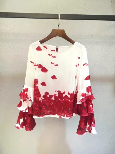Mujeres de la manera camisetas y tops 2017 primavera runway seda real completa ruffles partido estilo camisetas impresión del o-cuello de la manga flare t1006