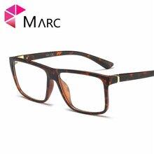 MARC Men TR90 Fashion Frame Eyeglasses Retro Clear lens Resin Trend Glass Plastic Matte Leopard print Black Eyewear 2019 G8025 1