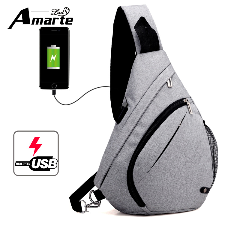 Amarte Anti-theft Design Men Sling Bags Single Unisex Women Shoulder Strap Pack Messenger Crossbody Chest Bag Pack Casual Bag
