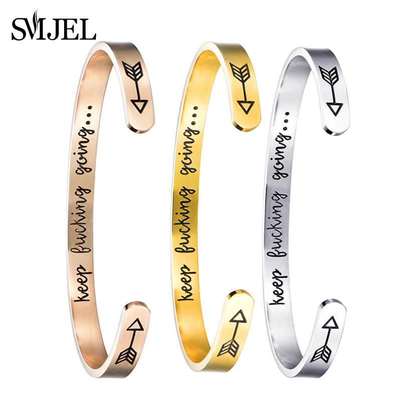 SMJEL Trendy Arrow Letter Keep Going Bracelets Bangles Motivational Friend Encouragement Jewelry For Men Women Gift brincos