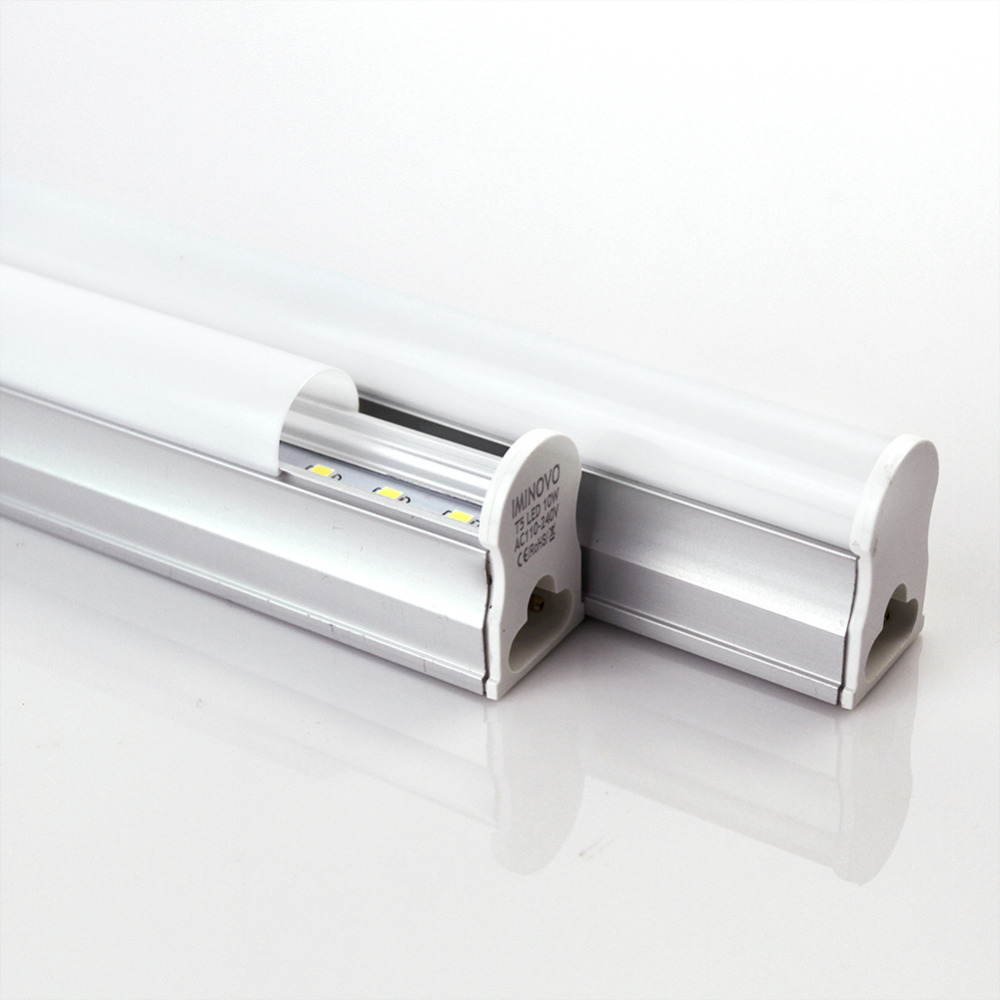 Jianjiandian LED Tube T5 Integrated Light with Switch AC110V 220V LED Fluorescent 60CM/2FT 10W Milky Cover Cold/Warm White Bulb 10 50 meters pack 1m per piece led aluminum profile slim 1m with milky diffuse or clear cover for led strips