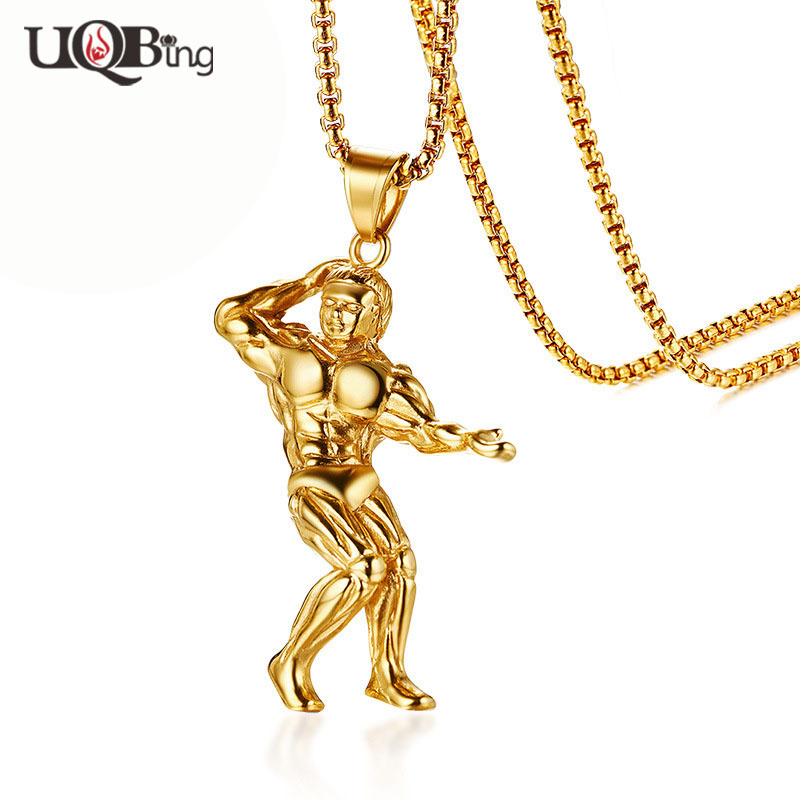 Gold colo running fitness health jewelry necklaces men free chain man pendant necklaces for friends gifts aloadofball Images