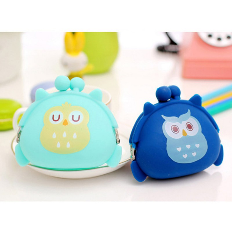 Candy Owls Wallet Silicone Small Pouch Cute Coin Purse for Girl Key Children Mini Animal Case Storage Bag carteira wallet Boy in Coin Purses from Luggage Bags