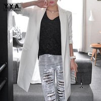 Chic Top Quality Womens Tailored Collar Slim Fit OL Blazer Suit Long Sleeve Jackets Coats Outwears Female White Black Size XL