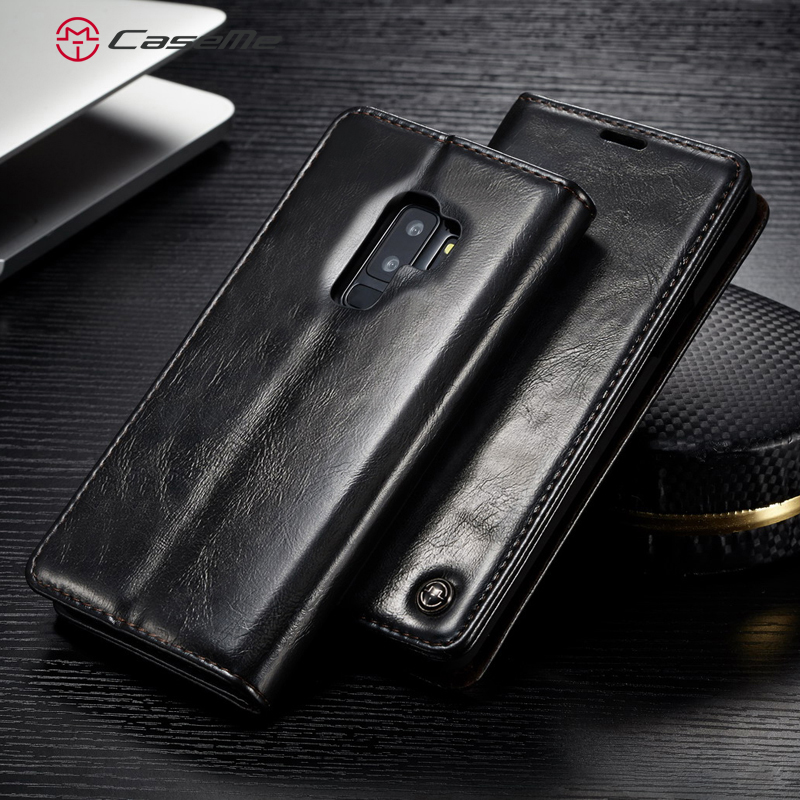 CaseMe Luxury Smooth Retro PU <font><b>Leather</b></font> Card Slot Stand Wallet <font><b>Case</b></font> Phone <font><b>Cases</b></font> Cover Back <font><b>Case</b></font> For <font><b>Samsung</b></font> S9 S8 Plus S7 S6 Edge image