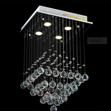 New K9 Square Clear Crystal Chandelier light Lamp Rain Drop Flush Mount Lighting 90-260V Free shipping