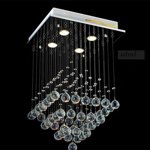 New K9 Square Clear Crystal Chandelier light Lamp Rain Drop Flush Mount Lighting 90-260V Free shipping K9 Crystal