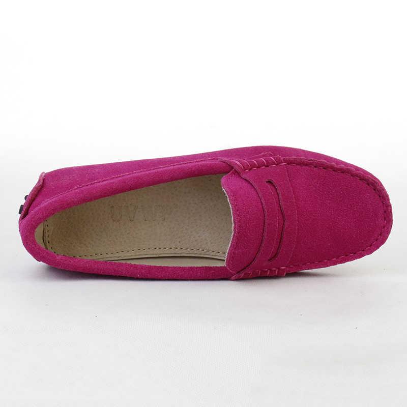 a9ba1a3ba56 ... 2019 Shoes Women 100% Genuine Leather Women Flat Shoes Casual Loafers  Slip On Women s Flats ...