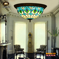 Makenier Vintage Tiffany Mediterranean Style Peacock Blue Stained Glass Flush Mount Ceiling Lamp 16 Inches Lampshade