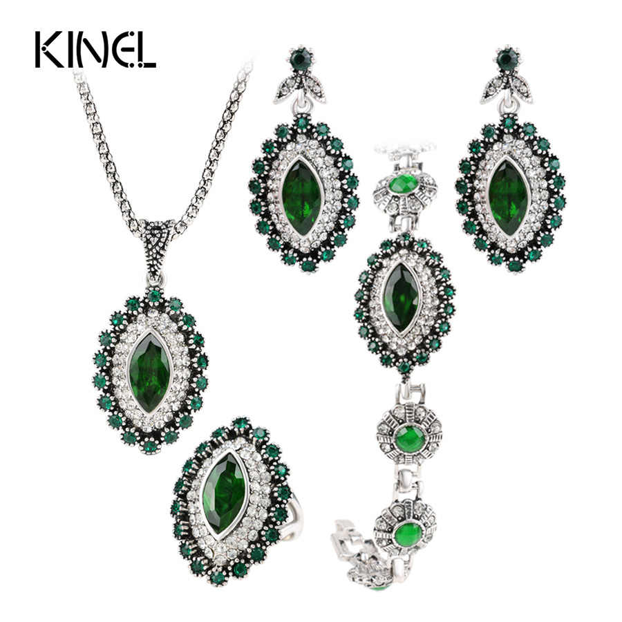 2018 Fashion Jewelry Sets Green Crystal Flower Bridal Bracelet Ring Necklace Earring 4PCS/Lot Antique Silver Vintage Jewelry