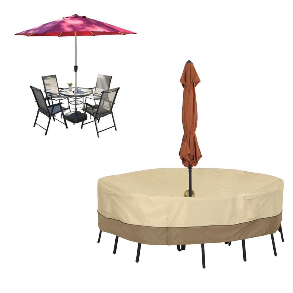 Round Table Chair Set Cover With Umbrella Hole Waterproof Dust Cover For Outdoor Garden Courtyard Furniture Cover