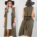 Gamiss Autumn Woman Waistcoat Casual Cool Sleeveless Turn-down Collar Belt Tie Pocket Formal Work Wear Women Trench Long Vest