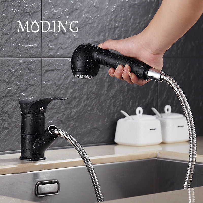 MODING Pull Out Kitchen Faucet Water Saving Polished Basin Mixer Brass Tap Vessel Vanity Sink Mixer