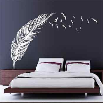 8408 0,7 pegatinas de pared de pluma voladora derecha izquierda decoración del hogar adesivo de parede decoración del hogar papel pintado Adhesivo de pared