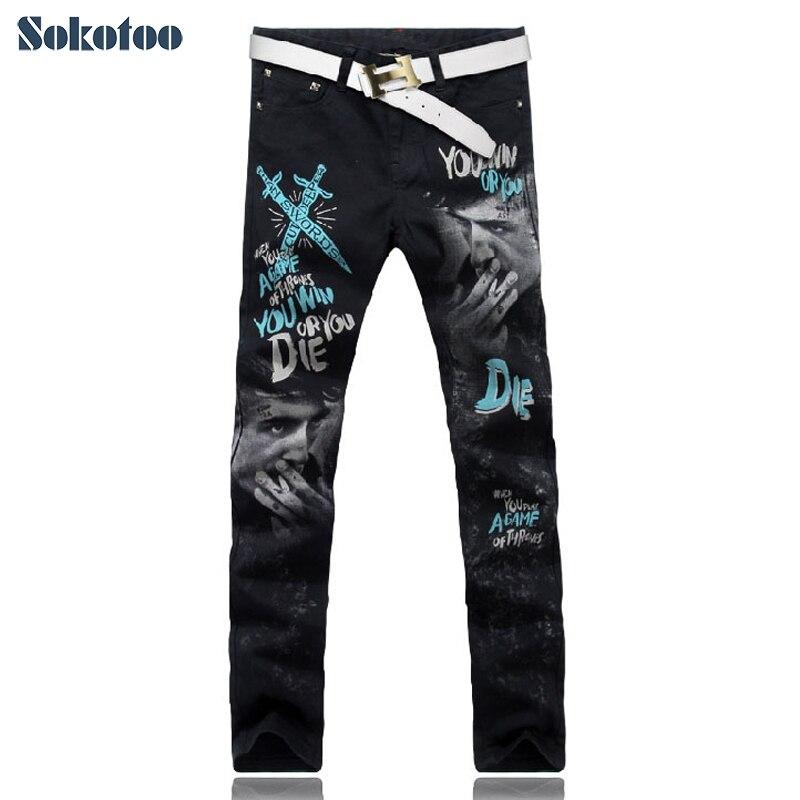 ФОТО Sokotoo Men's smoke man swords print jeans Male casual colored drawing painted slim denim pants Black trousers Free shipping