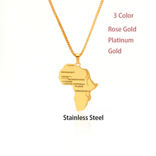 Africa Map Necklace Pendant Necklace for Women Men Ethiopian Jewelry Maps Hiphop Necklaces Stainless Steel Necklace Gift