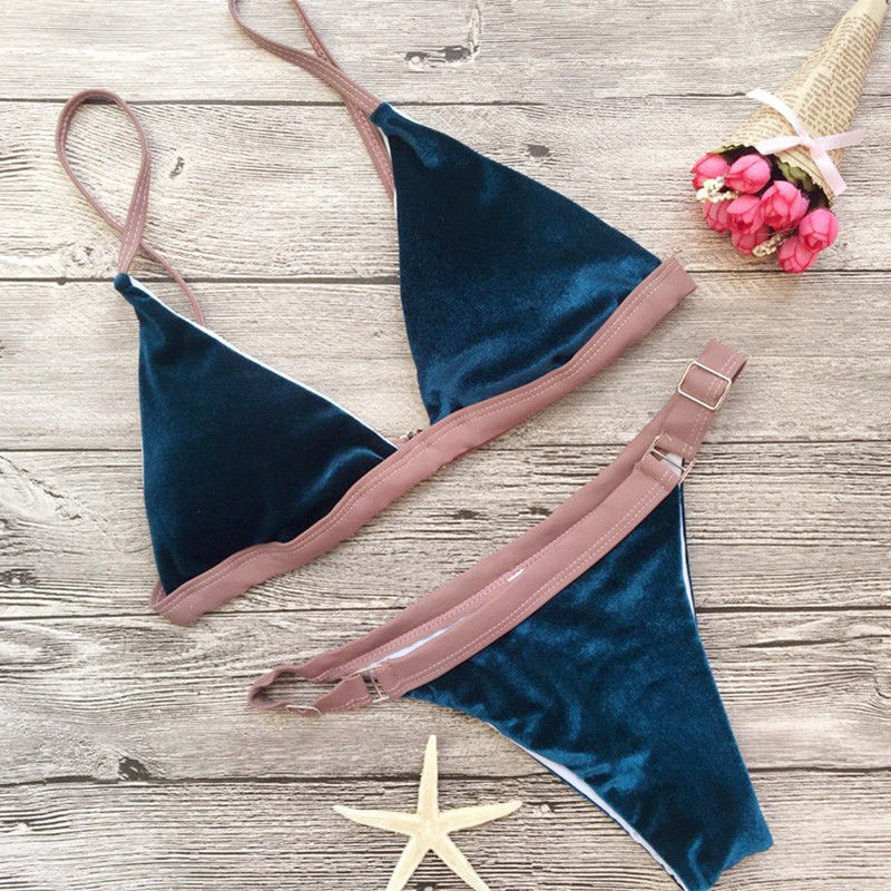 Womens Padded Push-up Bikini Set Hot 2018 Velvet Beach Swimsuit Bathing Suit Swimwear Beachwear hot swimsuits push up bikini swimwear women padded biquinis bikini set new swimsuit lady bathing suits female bandage swimwear