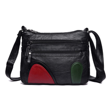 Floral Shoulder Bag Washed PU Leather Black Messenger for Women Lightweight Soft Cute Crossbody Small Female Package
