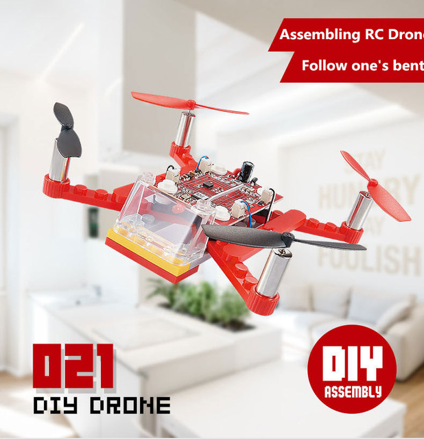 2017 NEW Creative DIY mini electric RC toy HJ-021 2.4G assembly Building blocks remote control RC drone quadcopter model toy