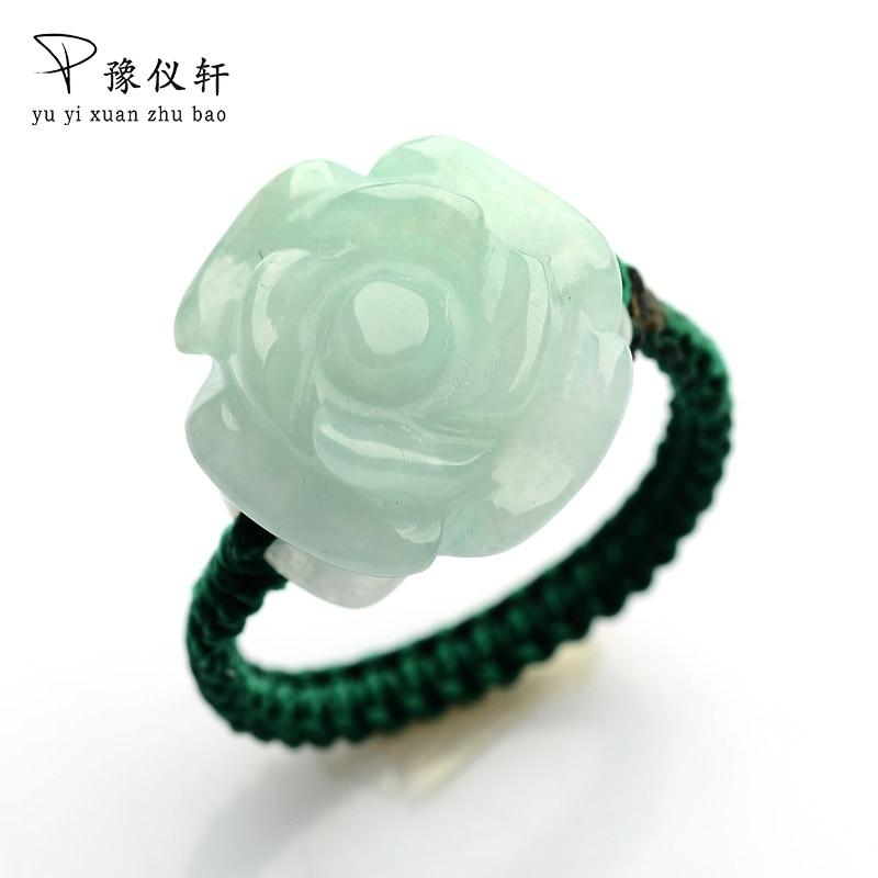 Car Jade Carvings Roses Jade Circles Authentic Jade Handmade Women's Rings 00116