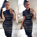 2017 Vintage Lace Woman Bandage Dresses Sexy Slim Bodycon Party Wear Formal Dresses Eyelash Lacework Petal Sleeve Female Dress