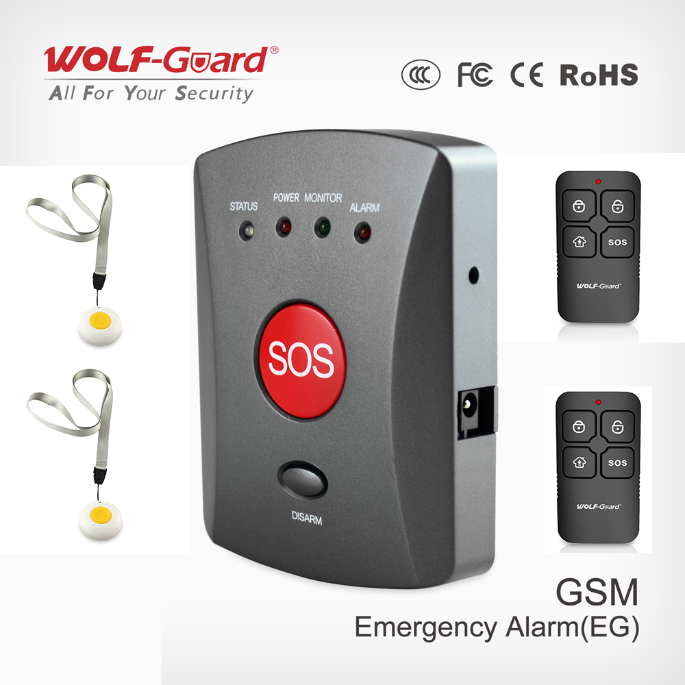 Wolf Guard 007EG Wireless GSM SMS Elderly SOS Button Panel One Key Alarm Elder Children Two Way Speaking for Home Alarm System-in Alarm System Kits from Security & Protection