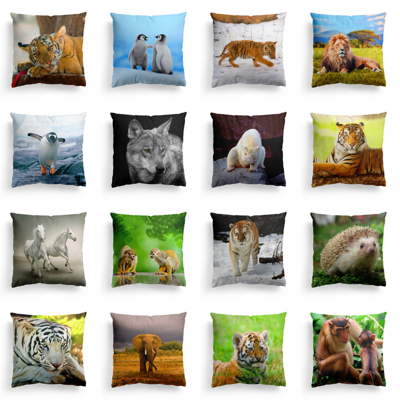 Cojines Tiger.Aliexpress Com Buy Animal World Series Cushion Cover Polyester Cotton Cute Hedgehog Penguin Tiger Home Decorative Pillow Cover For Sofa Cojines From