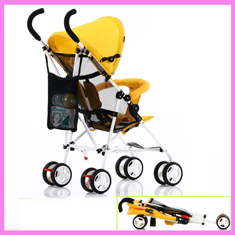 Lightweight Portable Folding Steel Baby Umbrella Stroller Child Carriage Cart Pram Buggy Pushchair 6 M~3 Y super lightweight folding baby stroller child pushchair umbrella portable travel baby carriage baby pram poussette kinderwagen